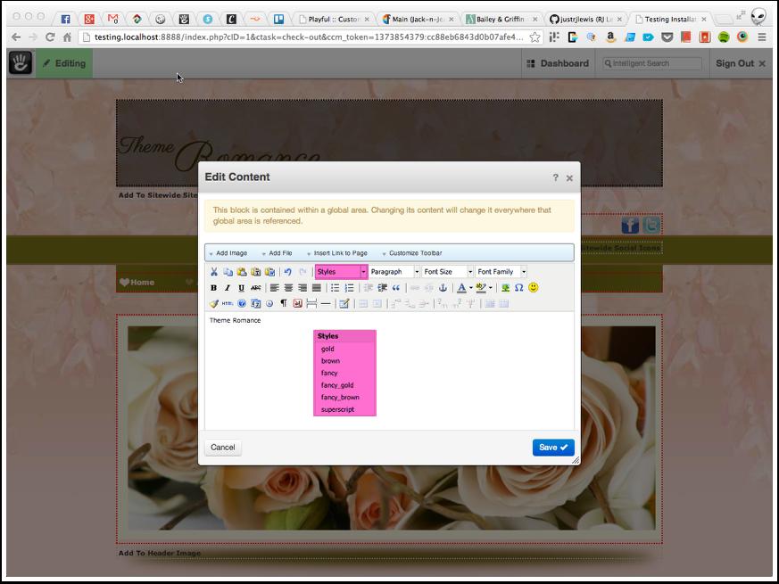 Customizing Text Elements: