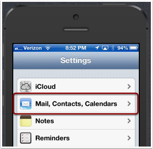 Select Mail, Contacts, Calendars
