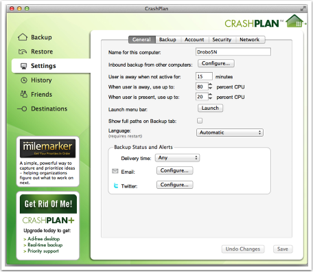 Open CrashPlan and Configure