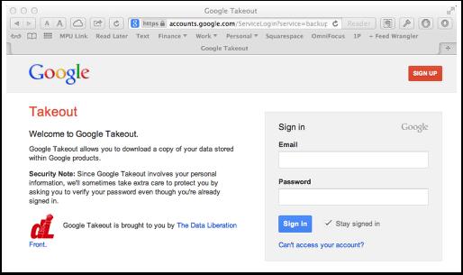 Visit Google.com/takeout