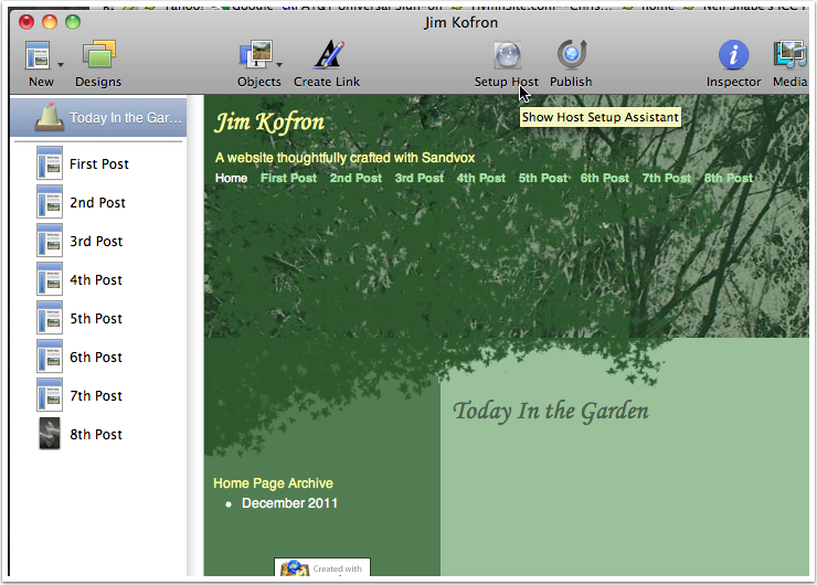 I renamed the home page here. You don't have to do that for yours. Ignore the setup host...