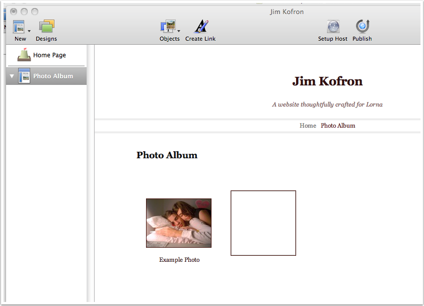 This provides you a new collection. You'll drop photos onto the Photo Album from the finder