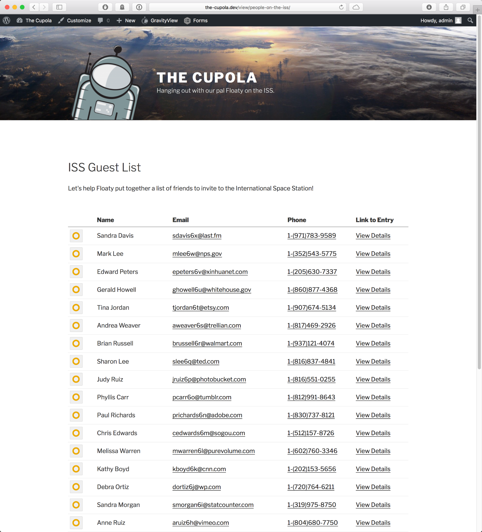 A GravityView table of all the entries on the front-end of the website