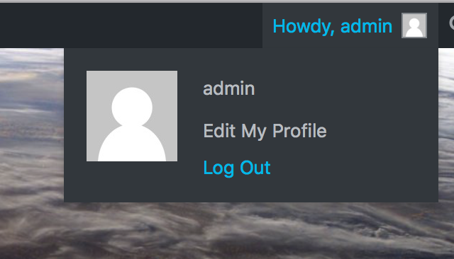 The Log Out link in the WordPress Toolbar