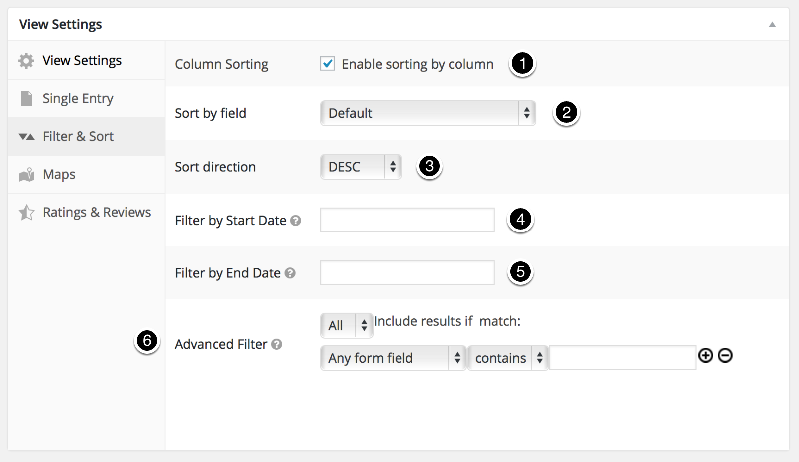 Filter & Sort Settings