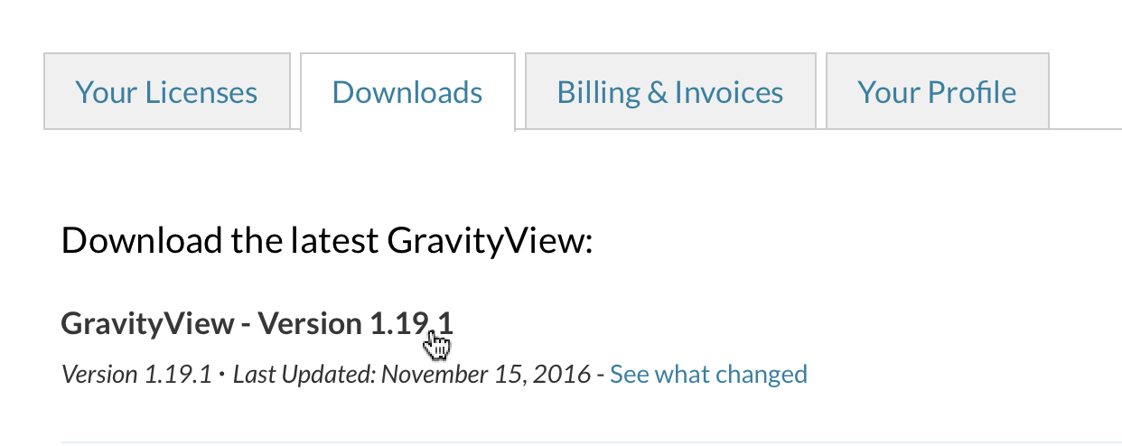 """GravityView account """"Downloads"""" tab, clicking the link titled """"GravityView - Version 1.19.1"""""""