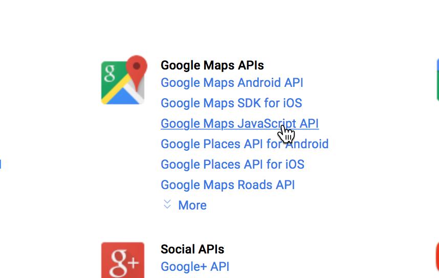 "Click ""Google Maps Javascript API"""
