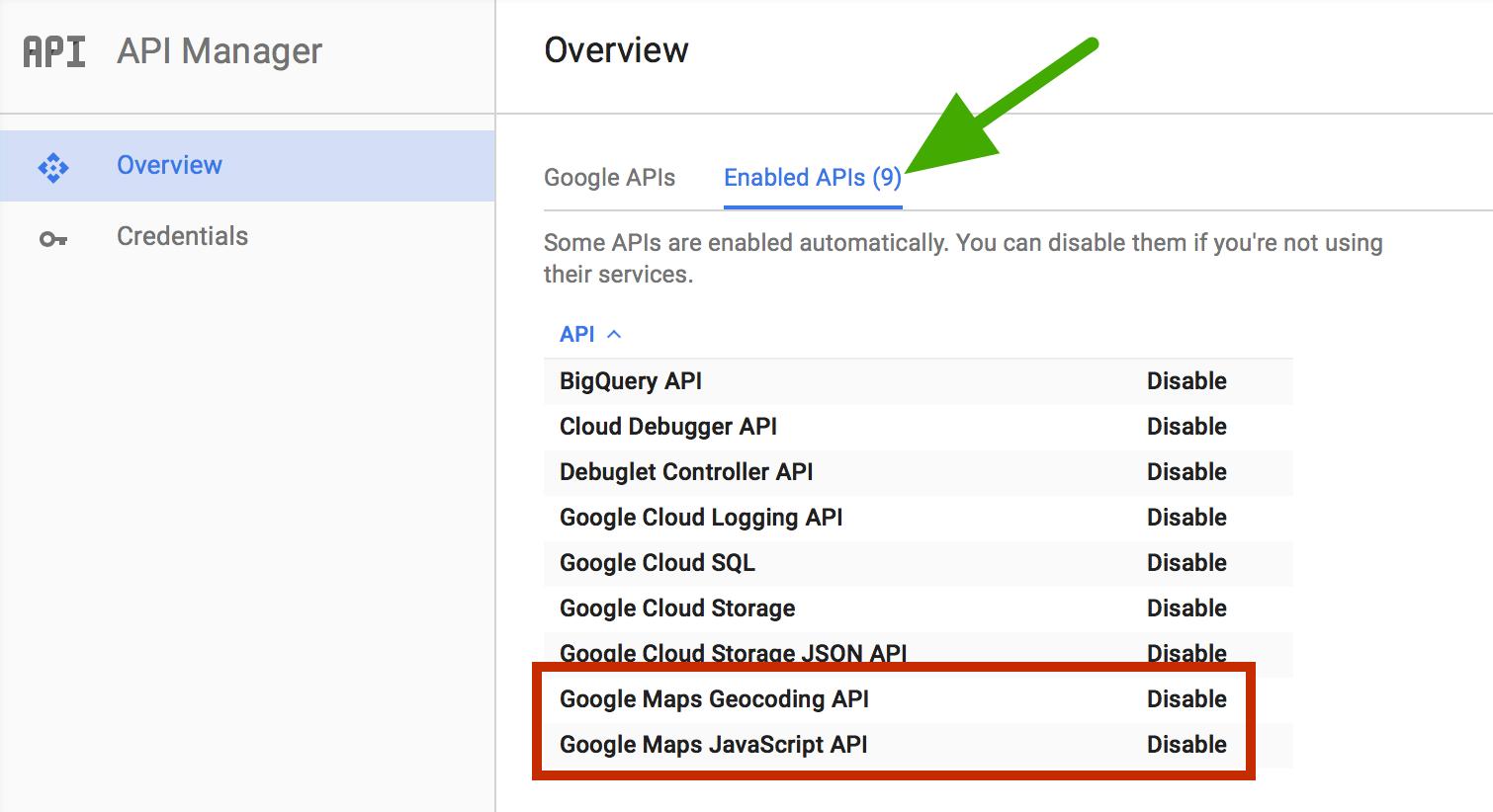 Make sure both Google Maps Geocoding API and Google Maps JavaScript API are enabled.