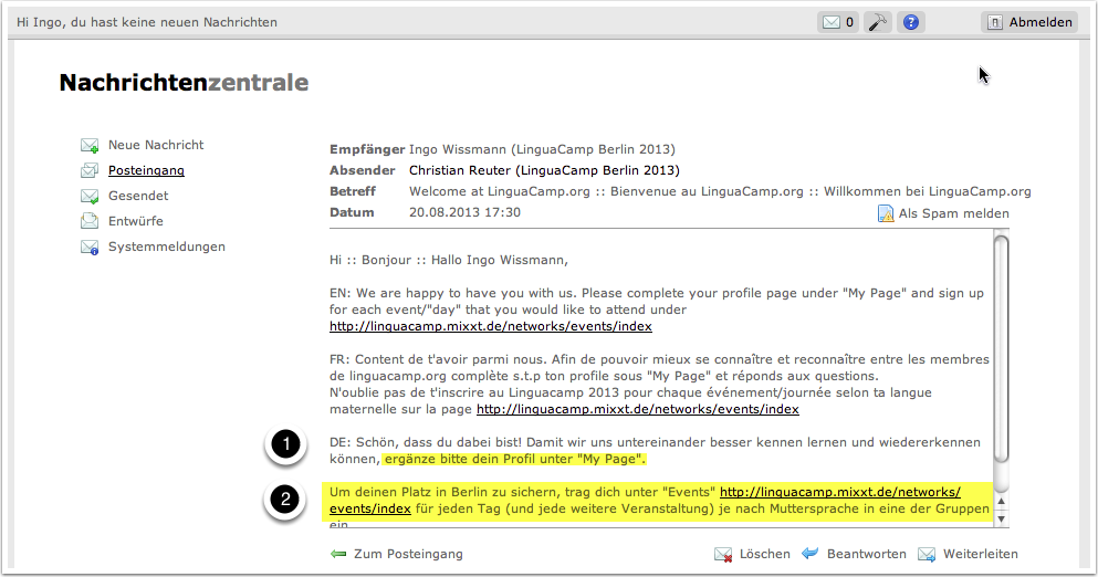 A7. LinguaCamp Berlin 2013 - Main Page 4 - Nachrichtenzentrale