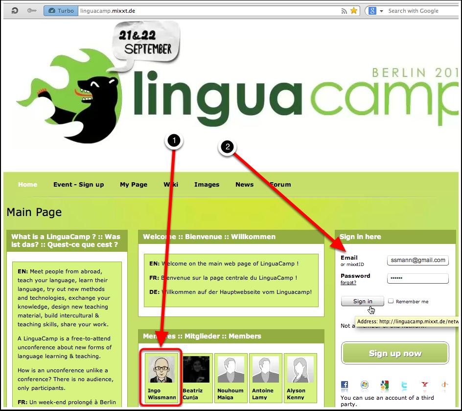 B1. Main Page - LinguaCamp - Netzwerkanmeldung