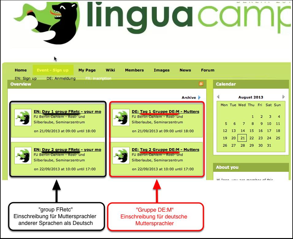 B3. LinguaCamp Berlin 2013 - Event-Anmeldung 2