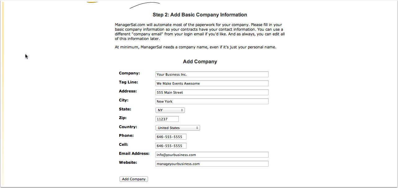Basic Company Information Example: