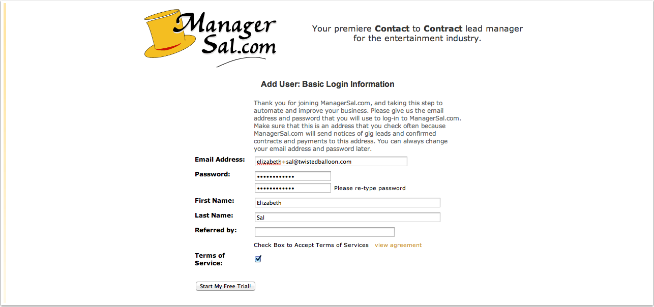 Basic Login Information Example: