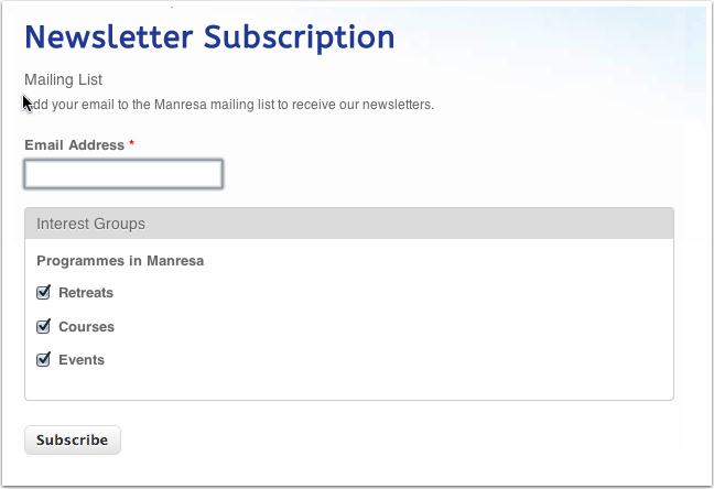 Begin at http://www.manresa.ie/mailchimp/subscribe