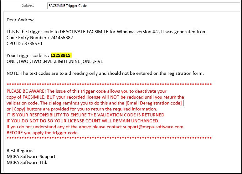 Trigger code message.