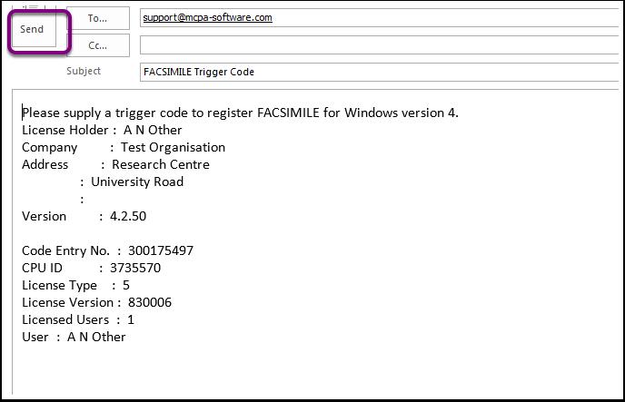 Trigger code request
