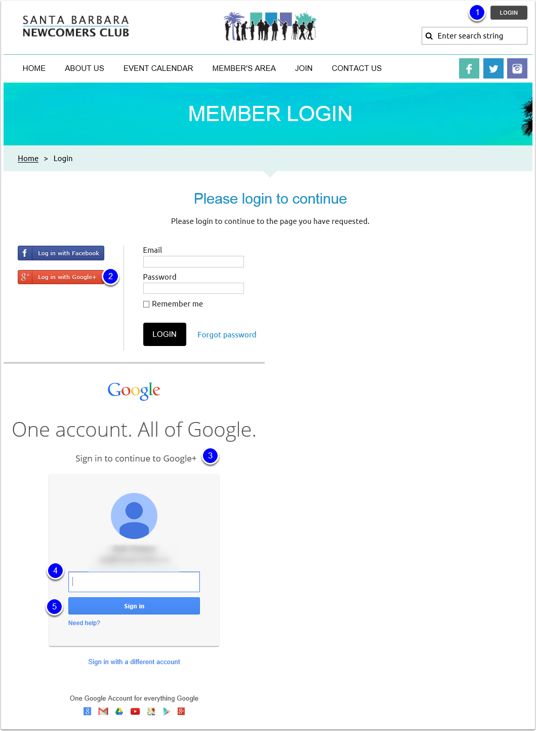 Log in to the SBNC Website Using Your Google+ Credentials