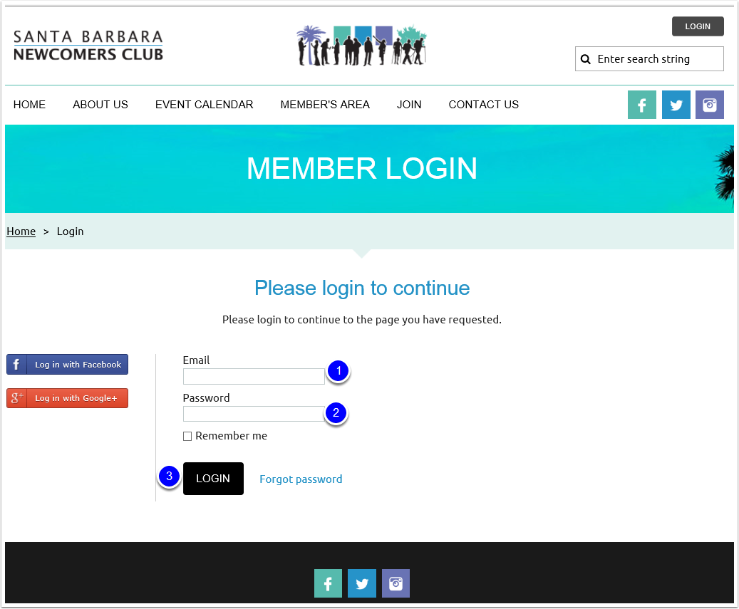 Log in to the SBNC Website
