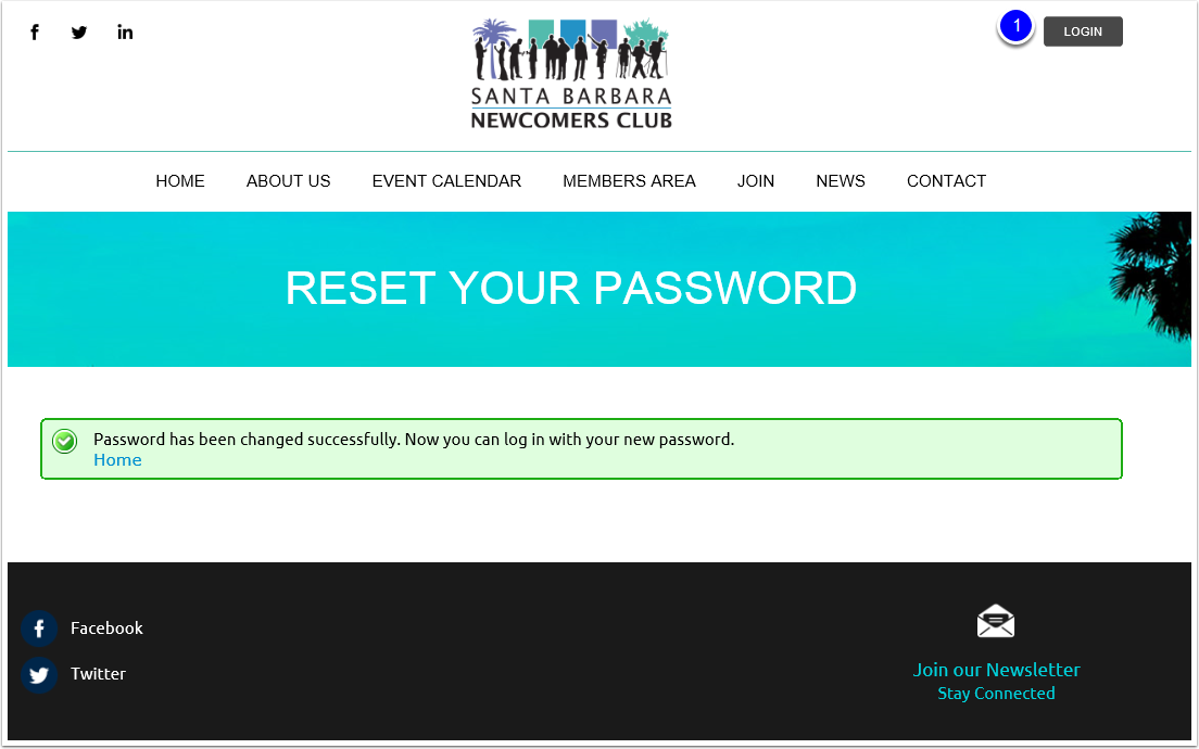 Password successfully reset and log in to the website