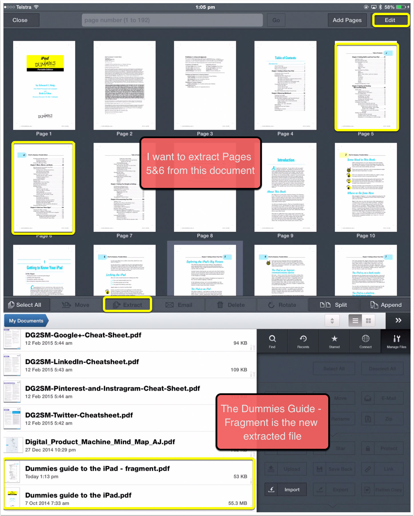 Extract The Pages Manage A Pdf Document In Goodreader 4 '�  Ipad Learning