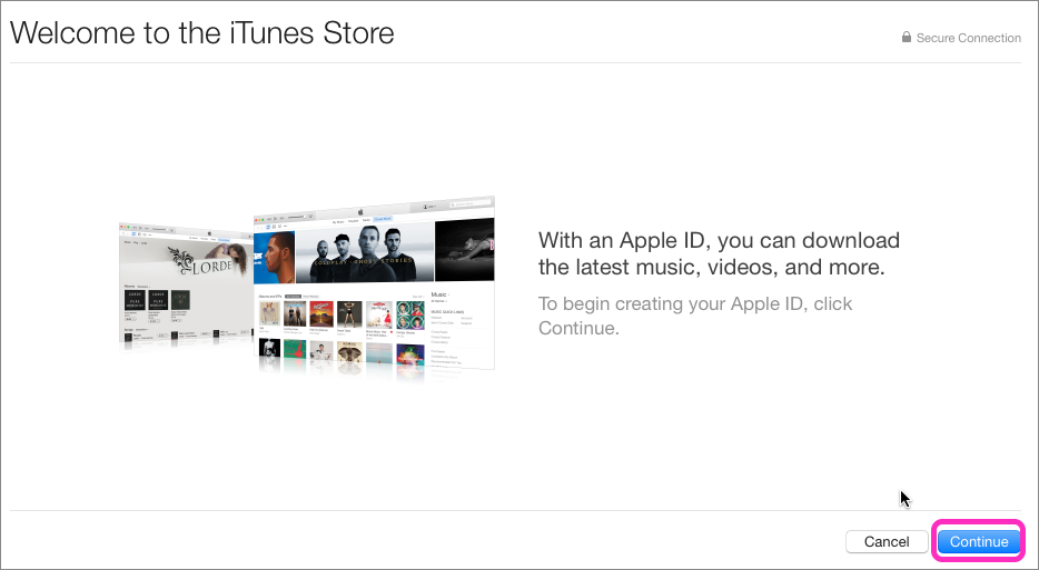 10.1 Click Continue on the Welcome to the iTunes Store screen