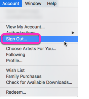 3. Sign out of iTunes Store.