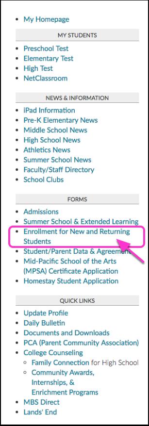 STEP 2: Go to Enrollment Form