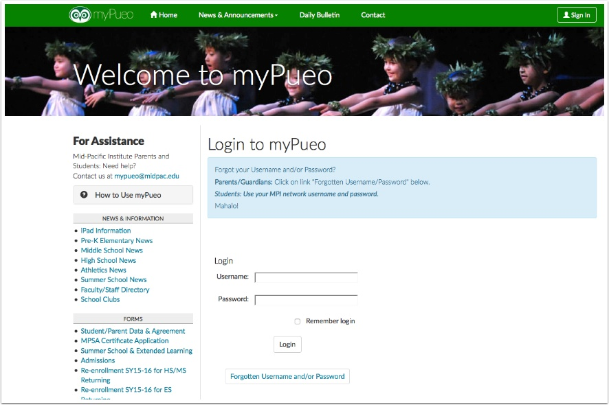 Go to https://mypueo.midpac.edu.  Enter your username and password.