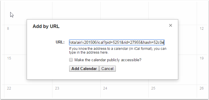 4. Paste myallocator calendar link into URL field and hit Add Calendar