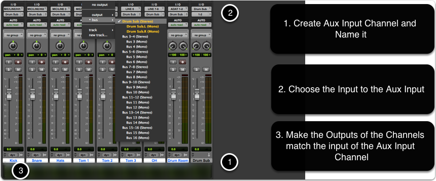 Creating a drum Sub mix using Aux track, bus