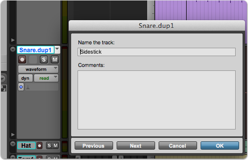 Rename tracks in Pro Tools