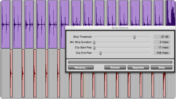 Stripping a track with strip silence in Pro Tools