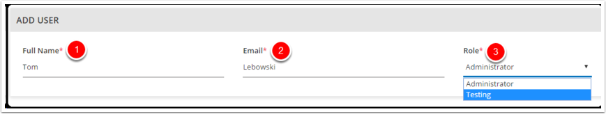 3. Agregue el nombre completo del usuario, Correo electrónico y aplique el papel