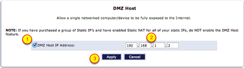 Enable DMZ Host IP Address