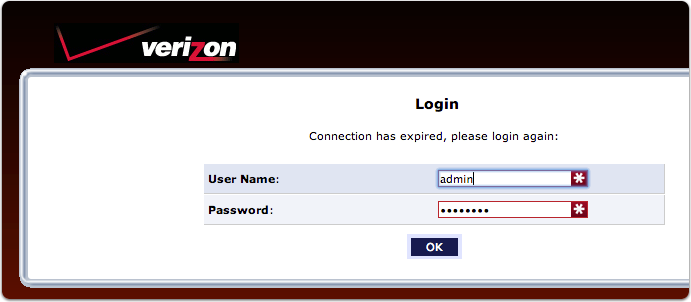 Log into Verizon Router at 192.168.1.1