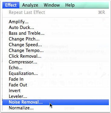 Select Effect and Noise Removal...