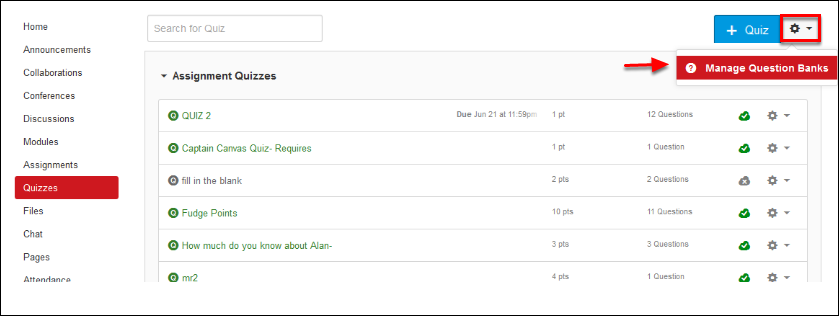 Screenshot of selecting Manage Question Banks.