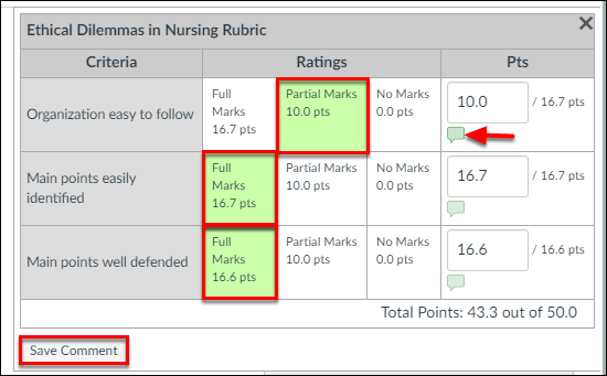Screenshot of the rubric.