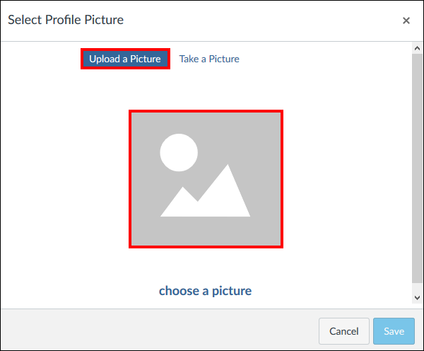 Screenshot of the Upload a Picture window.
