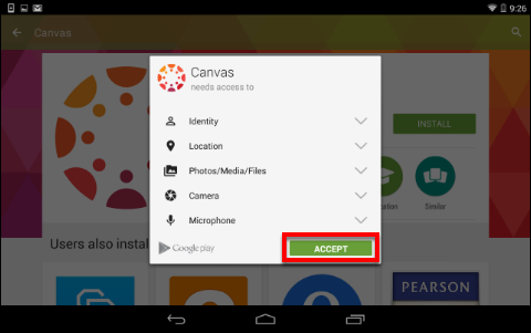 Screenshot of the Accept button.