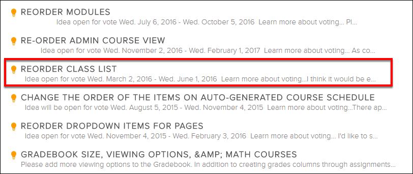 Screenshot of selecting an idea.