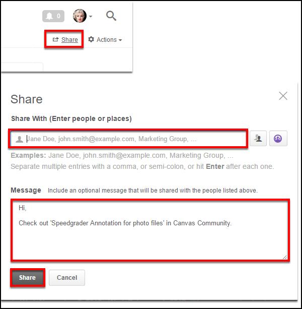 Screenshot of sharing the idea.