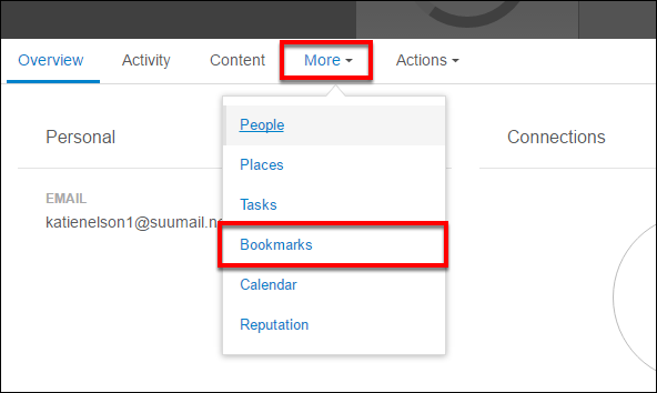 Screenshot of the Bookmarks option.