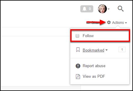 Screenshot of the Follow option.