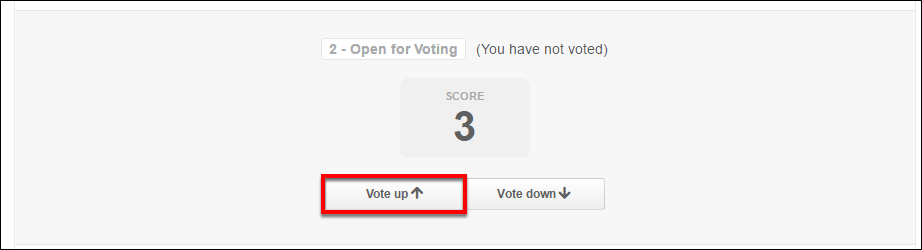 Screenshot of the Vote up button.