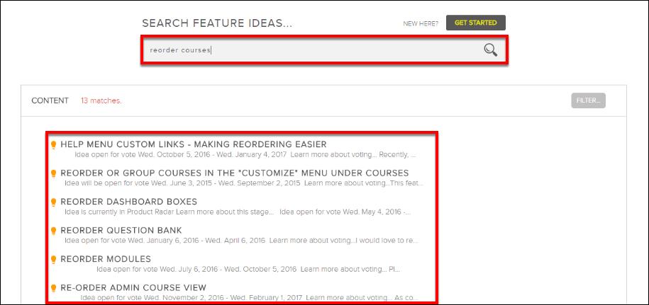 Screenshot of typing an idea
