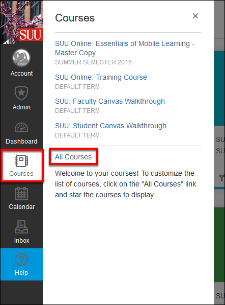 Screenshot of the All Courses button.