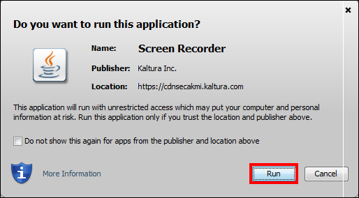 Screenshot of the Run button.