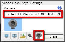 Screenshot of the camera tab.