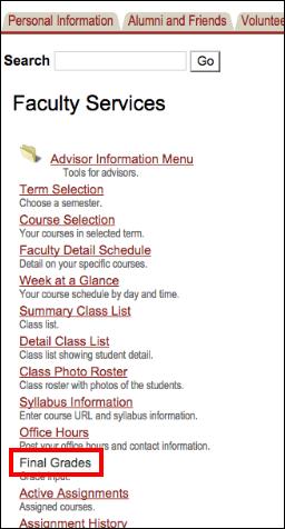 Screenshot of the Final Grades option.